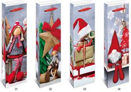 Пакет під пляшку новорічний з глітером 253JD 12.8*36*8.4