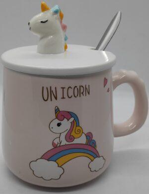 Чашка керамічна 2025 Єдиноріг з ложкою та кришкою
