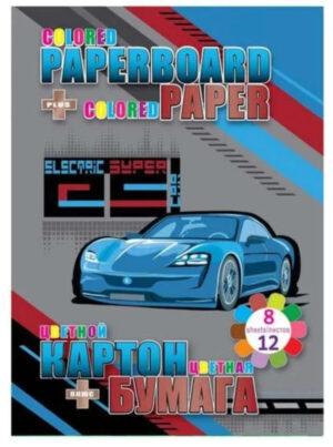 Картон та папір Мультяшки 13269 Electro Car 8арк картону двостороннього та 12арк паперу