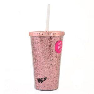 """Тамблер-стакан YES з блискітками """"Pink Cat"""", 450мл, з трубочкою 707011"""