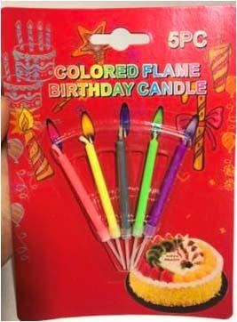 Свічки тонкі 5шт/уп кольорове полумя 6331 8889