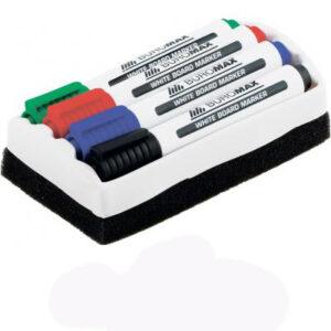 Комплект маркерів  сухостиральних 4шт +губка Buromax 8800-84